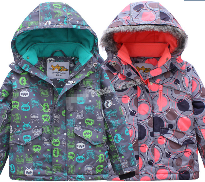 Outdoor wind and waterproof jacket boys and girls children of foreign trade of the original single ski padded jacket стоимость