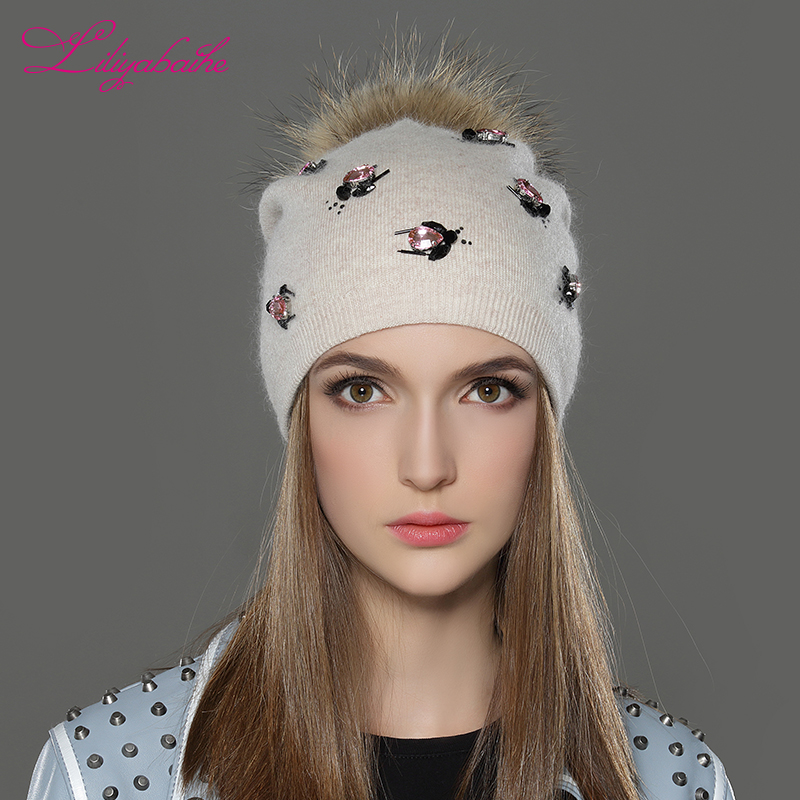 LILIYABAIHE Women Autumn And Winter Hat angora Knitted   Skullies     Beanies   Cap solid colors fashion the most popular decoration cap