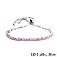 CKK 925 Sterling Silver Pink Sparkling Strand Bracelets For Women Gift Original Fashion Jewelry DIY Making