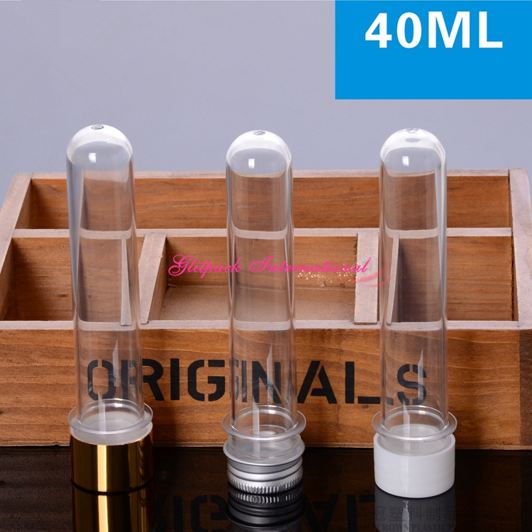 30pcs 1.4oz Gold/Aluminum/Plastic White Lids Clear Cosmetic Tube,Transparent Screw Lined Lid 40ml Salt Scrub Empty Plastic Tubes