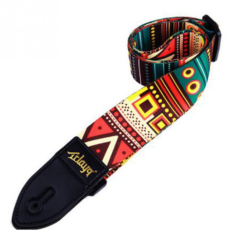 Alto Folk Printing Guitar Straps Thickened Folk Wooden Electric Guitar Bass Straps-in Guitar Parts & Accessories from Sports & Entertainment