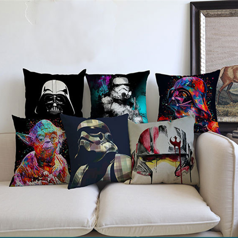Star Wars Style Cushion Cover Throw Pillow Case Film Poster Yoda Printing Cushion Covers Bedroom Seat Chair Home Decoration gift