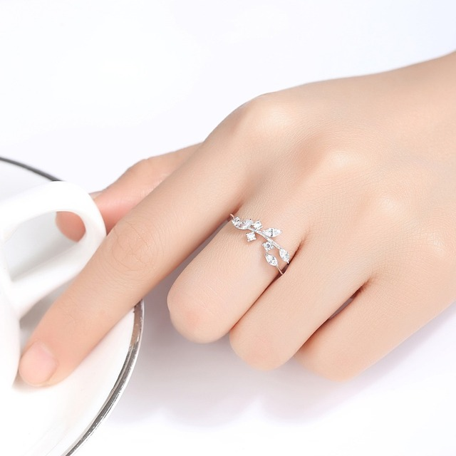 CZCITY Korean 925 Sterling Silver Handmade Olive Leaf Rings for Women Exquisite CZ Stone Adjustable Open Ring Silver 925 Jewelry 4