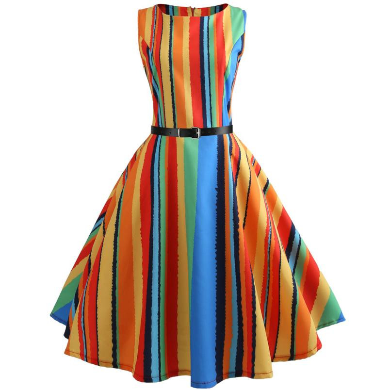 Rainbow Strip Ball Gown Mini Short Dress Women Vintage Printing Bodycon Sleeveless Casual Party Dress O Neck Dresses Sundress#30