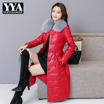 Belt Slim Fur Collar Detachable Solid Warm PU Leather Jacket Women High Quality Thick Winter Long Coat Female OL Style Clothes