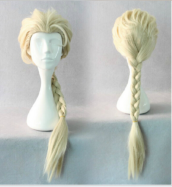 Frozen Elsa Girl/'s Light Blonde Braided Pigtails Wig Tiara Wand Gloves Sets