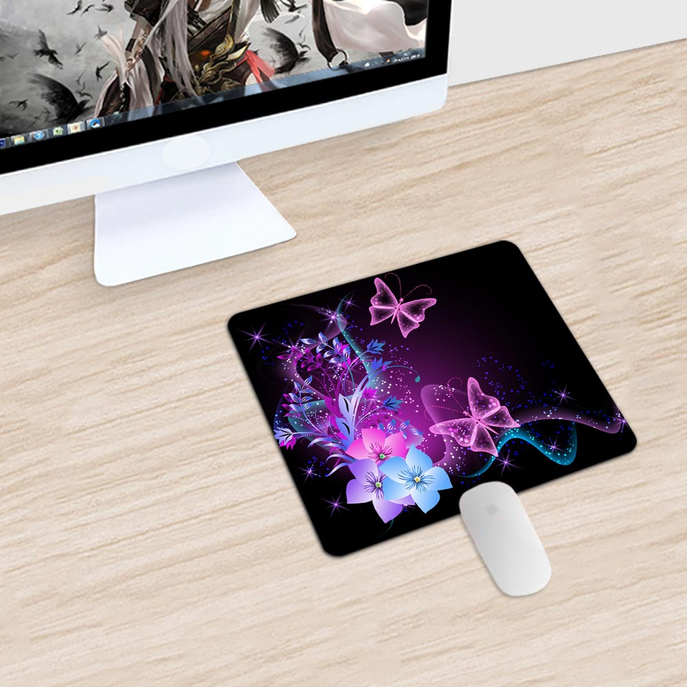 Good Use Small Mouse Pad for Game Playing Lover Rubber Mouse Mat Beautiful Butterfly & Blackboard