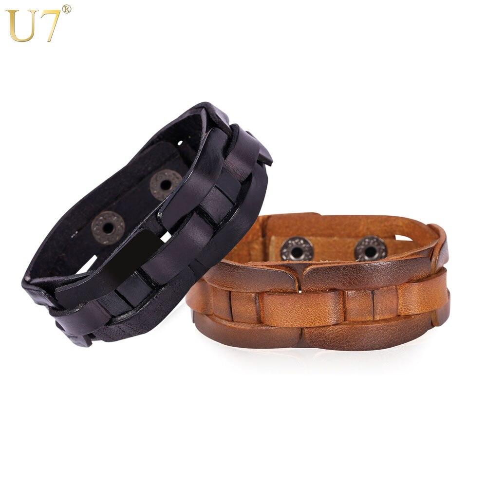 U7 New Vintage Jewelry Black Brown Leather Bracelets For Women Men Jewelry  Leather Cuff Wrap Bracelets