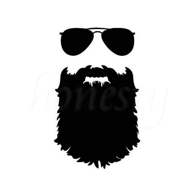 Beard sticker funny glasses auto wall home glass window door laptop truck black vinyl decal mustache