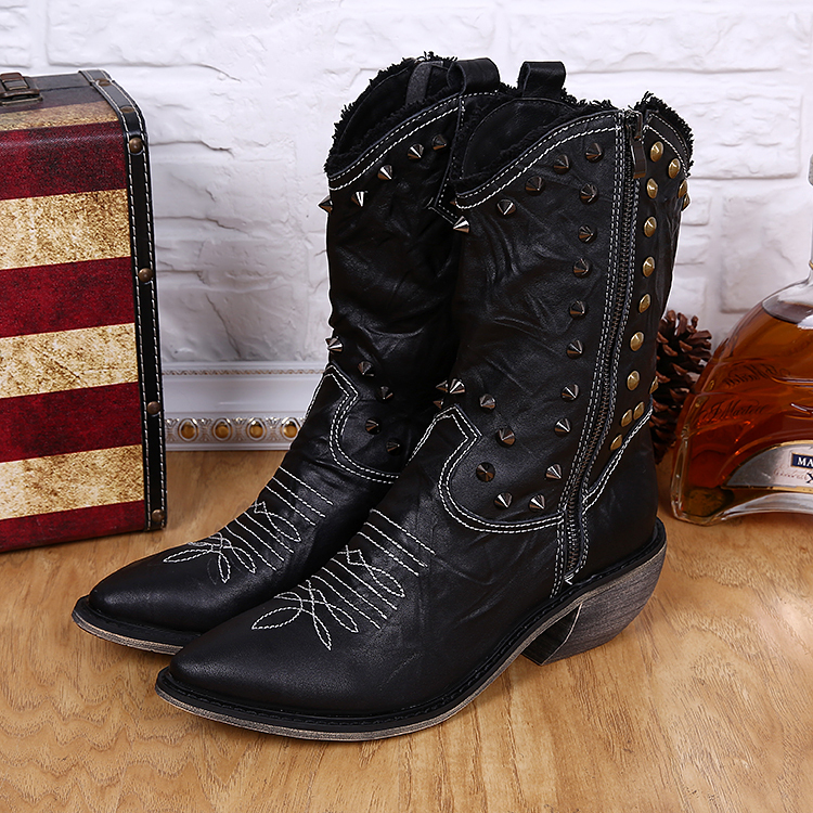 Online Shop Men cowboy boots Genuine Cowhide Leather pointed toe