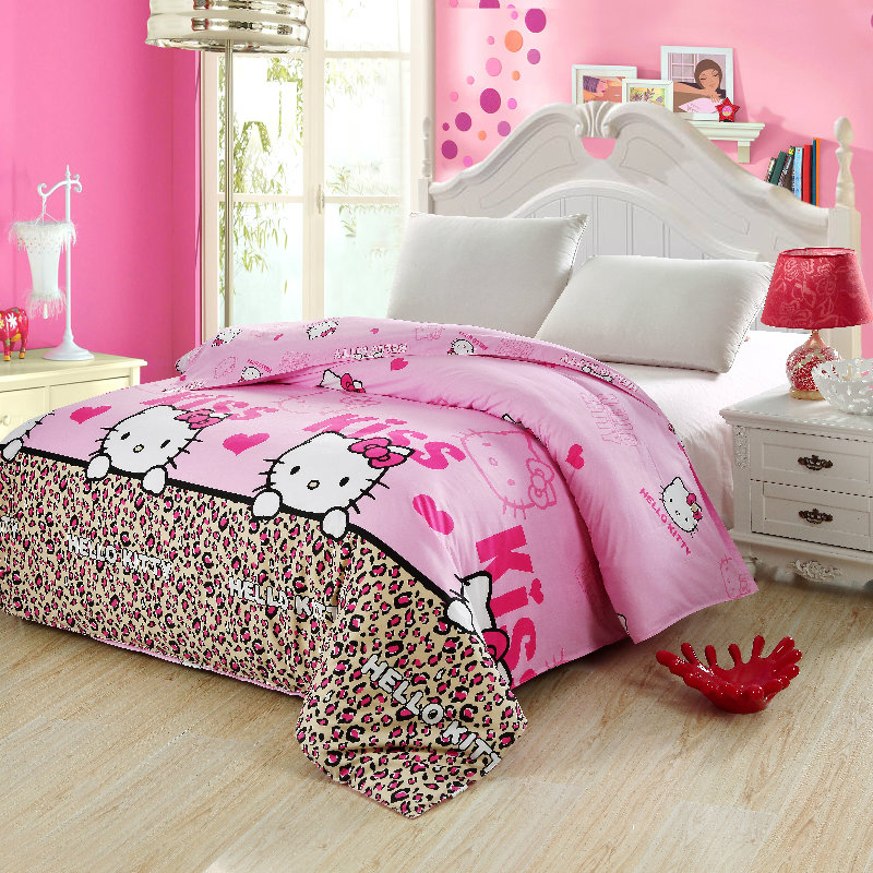 100%Cotton Leopard cartoon hello kitty Duvet Cover Single Twin Double Quilt Case Queen King Size Modern Boy Kids Comforter Cover ...