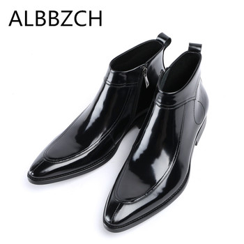 Patent leather men boots autumn winter shoes men pointed toe luxury brand design men's ankle boots fashion casual business boots