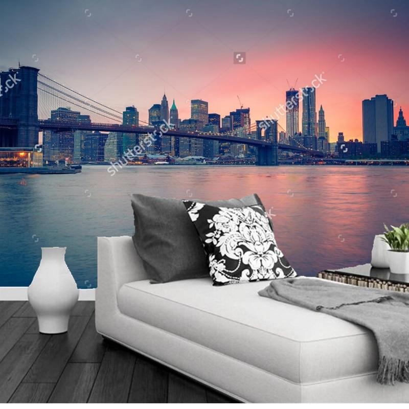 Custom landscape wallpaper,New York City,3D photo mural for living room bedroom restaurant background wall waterproof wallpaper custom baby wallpaper snow white and the seven dwarfs bedroom for the children s room mural backdrop stereoscopic 3d