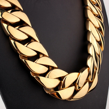 70cm * 31MM Super Heavy The best jewelry of the party Cuban Chain Gold Silver Tone 316L Stainless Steel Necklace - free shipping