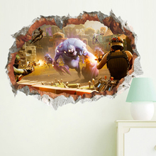 3d battle wall stickers home decor cartoon monsters game kids room wall decals adhesive living room fake window wltk 1 72 scale military model toys german bf 109 fighter diecast metal plane model toy for collection gift kids