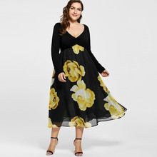 New  Fashion Plus Size Floral Print Empire Waist Midi Dress Women Vintage V Neck Long Sleeve Lady Large Dress 5XL