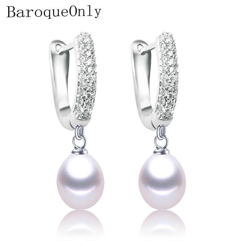 Baroqueonly 925 Sterling Silver Zirkon Lingkaran Alami Air Drop Mutiara Baroque Anting-Anting Perhiasan 2019 Fashion Hadiah Eaw