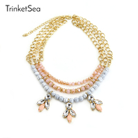 TrinketSea 2017 New Arrival Women Charm Pink Statement Necklace Cute Bead Short Chokers Fashion Jewelry Crystal