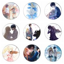 1pcs Your Lie in April Cosplay Badge Arima Kousei Brooch Miyazono Kaori Pins Col