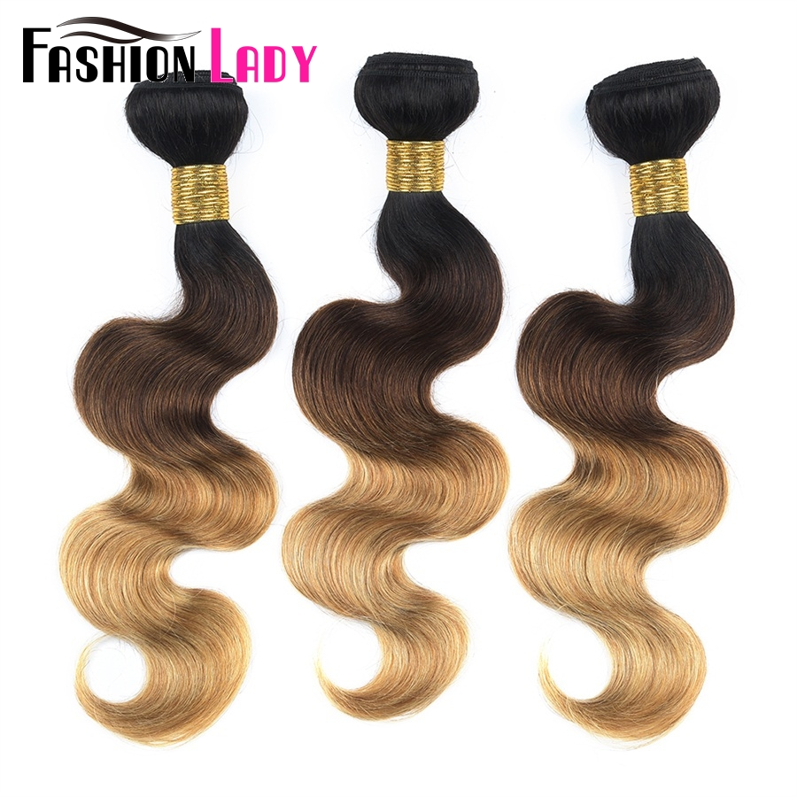 Fashion Lady Pre-Colored Brazilian Bodywave Bundles 3 Bundles 1b 4 27 Human Hair Blonde Weaving Ombre Hair Bundles Non-Remy