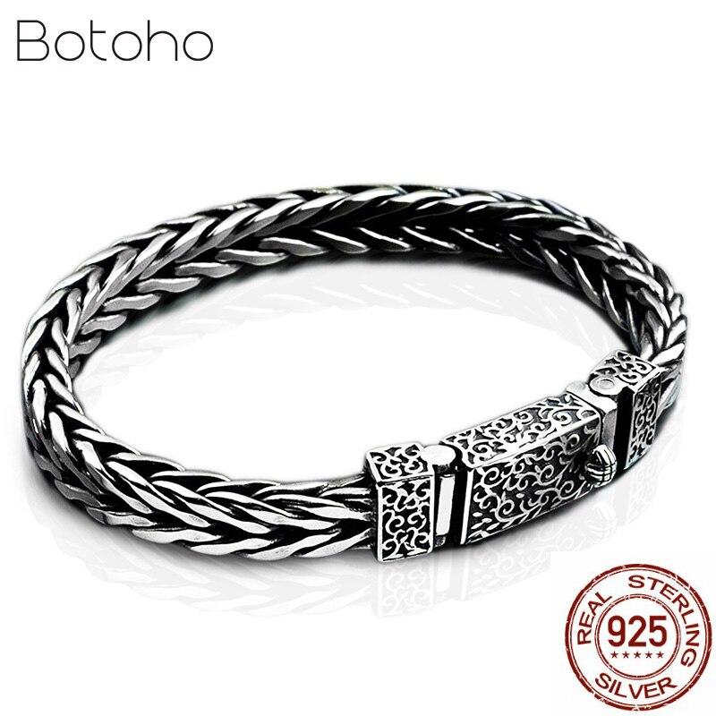 New 100% 925 Sterling Silver Dragon Grain Bracelet for Men Weave Design Male Bangles Thai Silver Keel Bracelet Jewelry Gifts