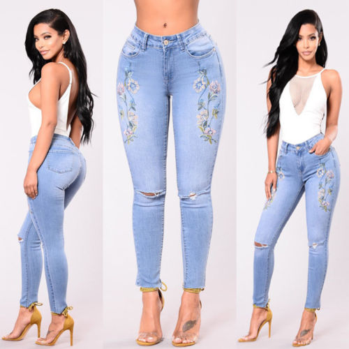 Women Stretch High Waist Pants Embroidered Floral Ripped Slim Skinny Denim Jeans Womens Ladies Flower Brief Jean Clothing new embroidered flower skinny stretch high waist jeans without ripped woman floral denim pants trousers for women jeans j18 z35