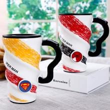 Super hero batman spinnenmann superman muster keramik becher kühlen neuheit transformator wasserflasche mit deckel