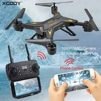 XGODY RC Quadcopter With Camera HD 1080P 4 Channel Foldable Arm Camera Drone FPV 20min 5MP Mini RC Helicopter WIFI Phone Control
