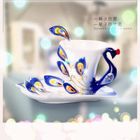 2015 горячие продажа элегантный художественная керамика подарки павлин Произведение кубка множество фарфоровую чашку Кофе бар Домой кафе оф...