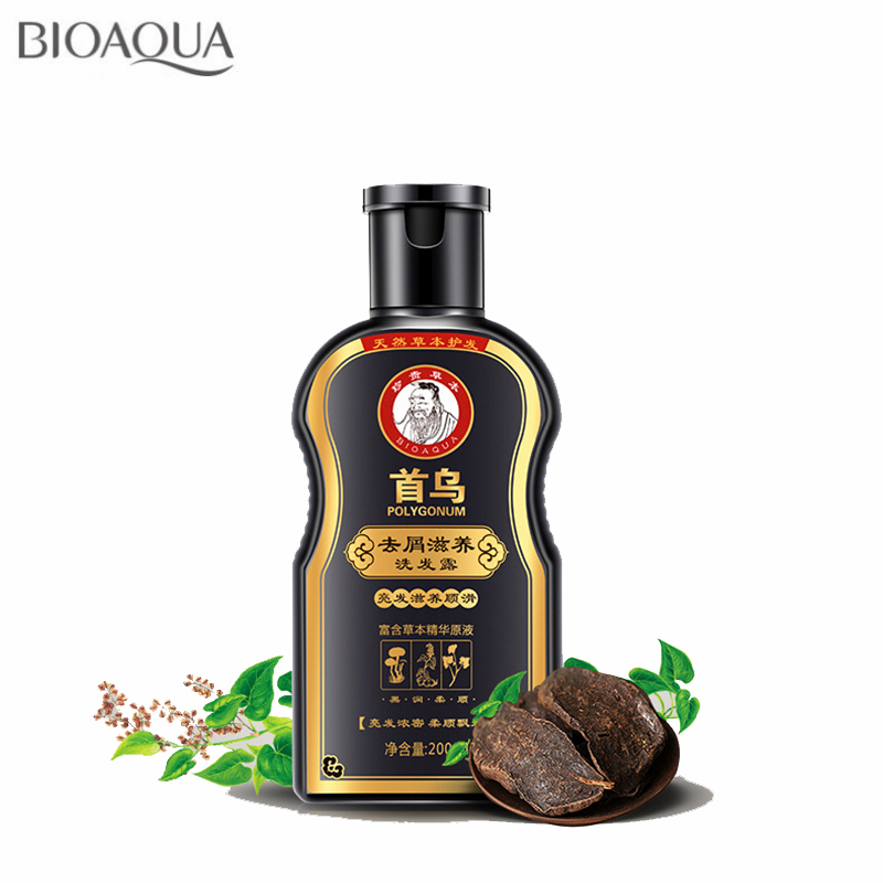 BIOAQUA Polygonum Multiflorum Anti-Dandruff Shampoo For Anti Hair Loss Moisturizing Refreshing Oil Control Black Hair Care 200ml