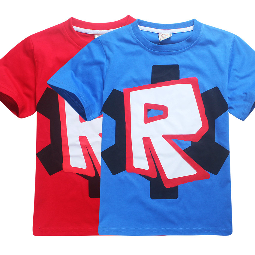 4-12T Game Roblox Print Kids T-shirt Summer Short Sleeve Boys Girls T Shirt Cartoon Kids Clothes Casual Tees 2018 Baby Costume cotton bull and letters print round neck short sleeve t shirt