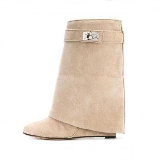 Winter Fashion Solid Color Suede Leather Shark Lock Boots Women Round Toe Mid-Calf Wedge Shoes Height Increasing Booties concise solid color and suede design women s mid calf boots
