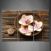 Framed Wall Art Pictures Spa Flower Spot Canvas Print Artwork Flower Modern Posters With Wooden Frames For Living Room