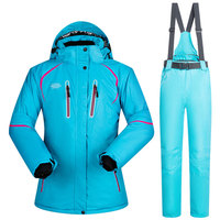 Female Winter Outdoor Ski Treking Jacket And Pants High quality Windproof Waterproof Breathable Thermal Skiing Snowboard Suits