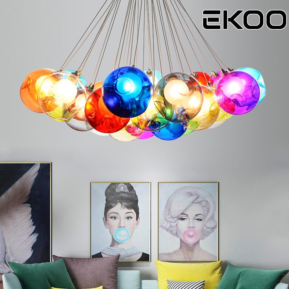 EKOO Modern Color Bubble Glass ball G4 LED Pendant Lamp lights Lighting for living room dining roomEKOO Modern Color Bubble Glass ball G4 LED Pendant Lamp lights Lighting for living room dining room