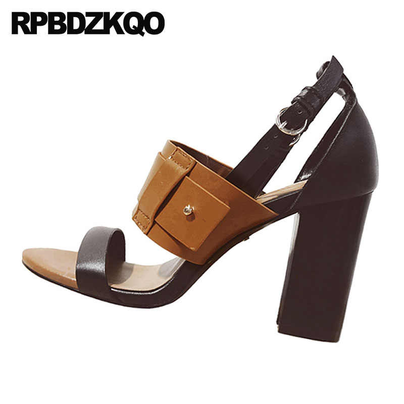 417590b866d5 ... Block Ankle Strap Vintage Gladiator Sandals Heels High Quality Designer  Genuine Leather Women Pumps Brown Thick ...