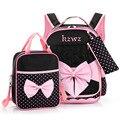 2017 niñas bolso de escuela para chicas mochilas niños mochilas niños mochila mochila taleguilla de la cartera del bowknot de la princesa