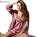 Халат Новый м-xxxl 2017 Имитация Ночное Женская Мода Платье Установить Сексуальные Ночные Юбки V Шеи Полный Рукав Пижамы халат Femme