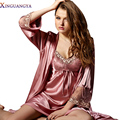 Albornoz Nueva m-xxxl 2017 de Imitación Mujeres de La Manera Vestido de Ropa de Dormir Conjunto Sexy Faldas de Noche V Cuello de La Manga Completa ropa de Dormir Robe Femme