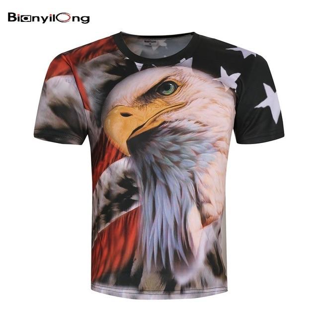 Bianyilong 2018 Harajuku hombres camiseta ee.uu. Bandera de América águila camisetas  hombres verano 70898183a3ac6