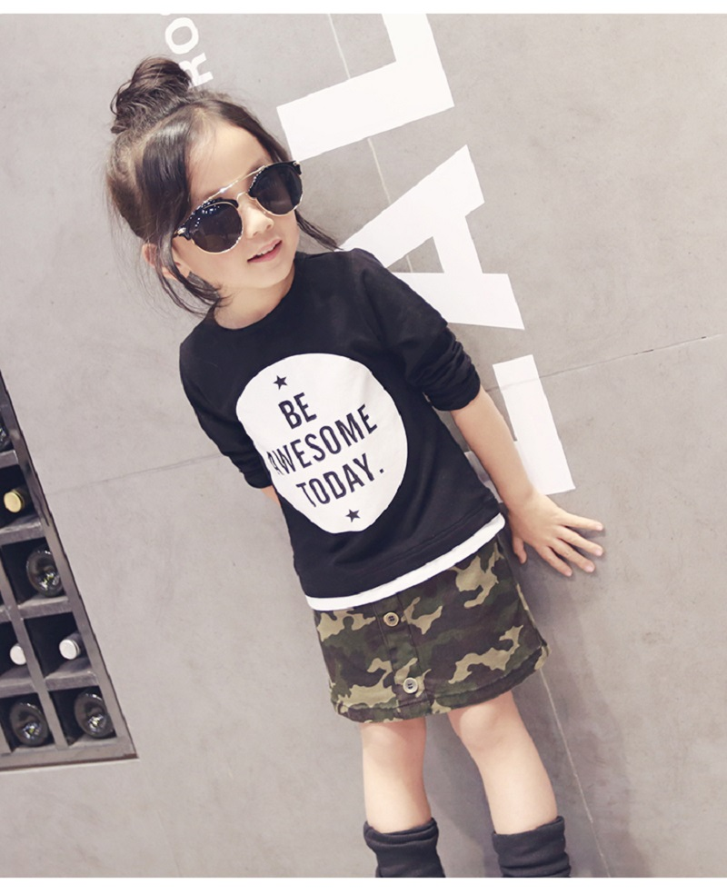 2-7Y, 2018 new baby tee camasi toamna fete cămașă litere copii T-shirt copii casual cu mânecă lungă cămașă toddler tee shirt