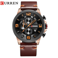 CURREN Dark Brown Genuine Leather Belt Military Waterproof Fashion Men Quartz Sport Wristwatch Montre Homme Relojes Hombre Clock
