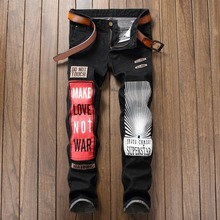 Newsosoo Personality Badge Patchwork Jeans Men Ripped Jeans Black Letter Biker Jeans Denim Straight Punk Slim Fit Casual Pants(China)