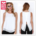 HYD High quality Chiffon 2017 Womens formal blouse ladys sleeveless Loose white back split shirts OL tees tops Summer