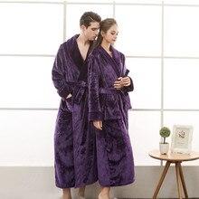 Autumn Winter Female Flannel Robe Women Long Bathrobe Sleepwear Solid Lovers Thick Plus Size Homewear