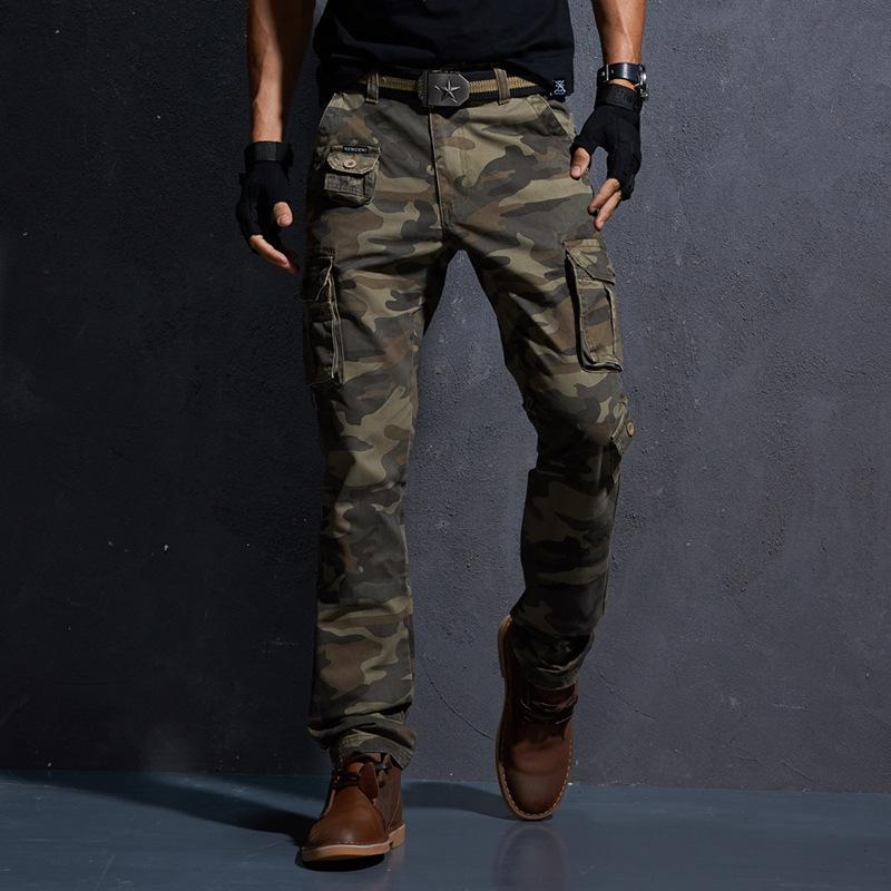 Spring Military Cargo Tactical Pants Cotton Casual Camouflage Trousers Men Pantalon Homme
