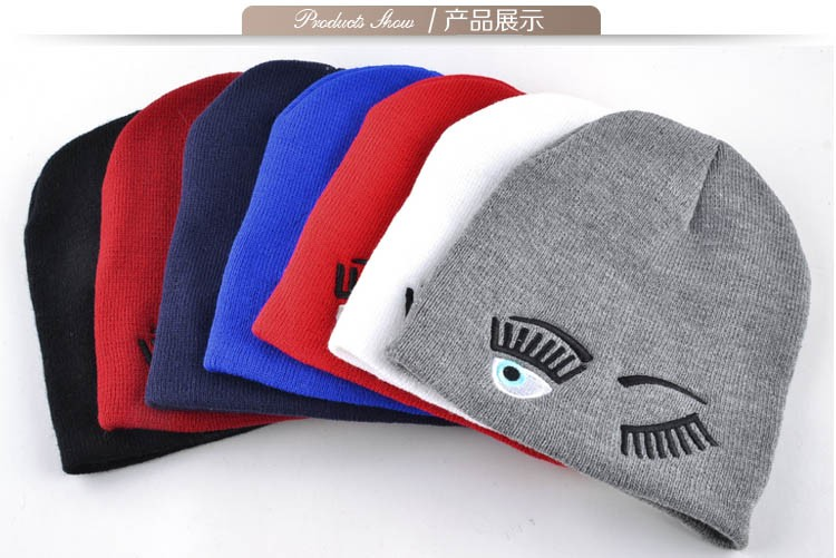 2017 new winter hats for woman striped solid caps girl Knit cap woman eye lashes facial expression beanies gorro 8