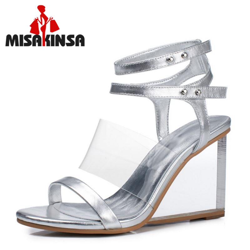 MISAKINSA Sexy Women Real Genuine Leather High Wedges Sandals Open Toe Metal Color Wedges Sandals Summer Woman Shoe Size 33-41 aiyuqi big size women shoe 41 42 43 2018 new women s sandals genuine leather casual comfort wedges open toe roman sandals female