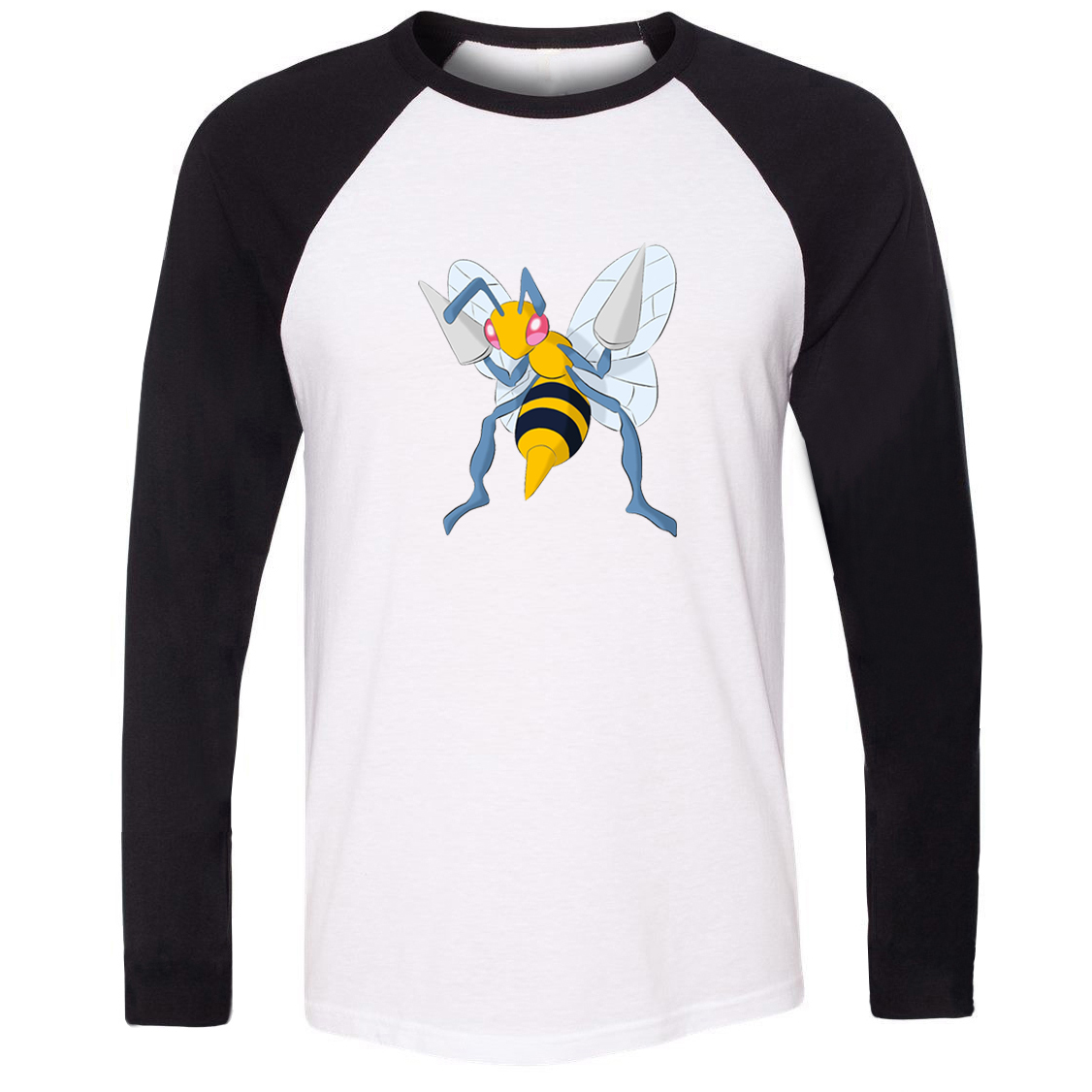 Unisex T-shirt Pokemon National Pokedex 015 Bug Poison Type Beedrill Pattern Raglan Long Sleeve Men T shirt Boy Casual Tee Tops image