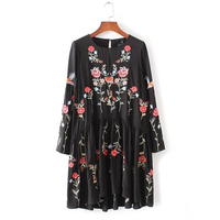 Fashion Brand Floral Embroidered Dress Women Round Neck Long Sleeve Vintage Black Dress Vestidos 2016 AAZZ8304